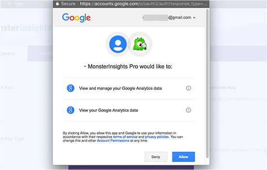Give MonsterInsights permission to access your Google Analytics data