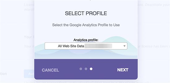 Select profile you want to track