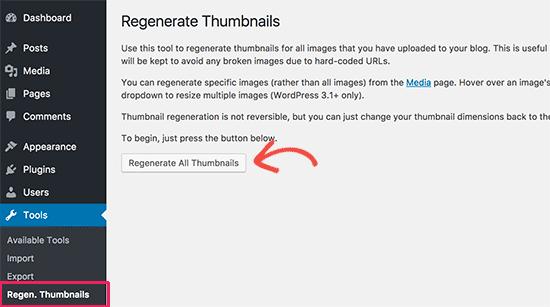 Regenerate image sizes in WordPress