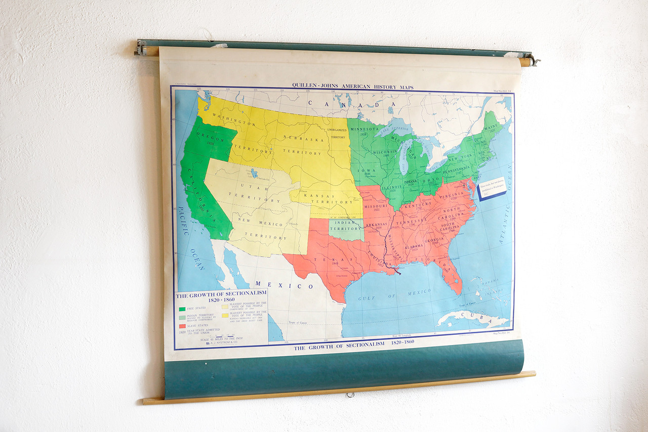 SOLD   Vintage Pull Down Map  Growth of Sectionalism 1820   186     SOLD   Vintage Pull Down Map  Growth of Sectionalism 1820   186