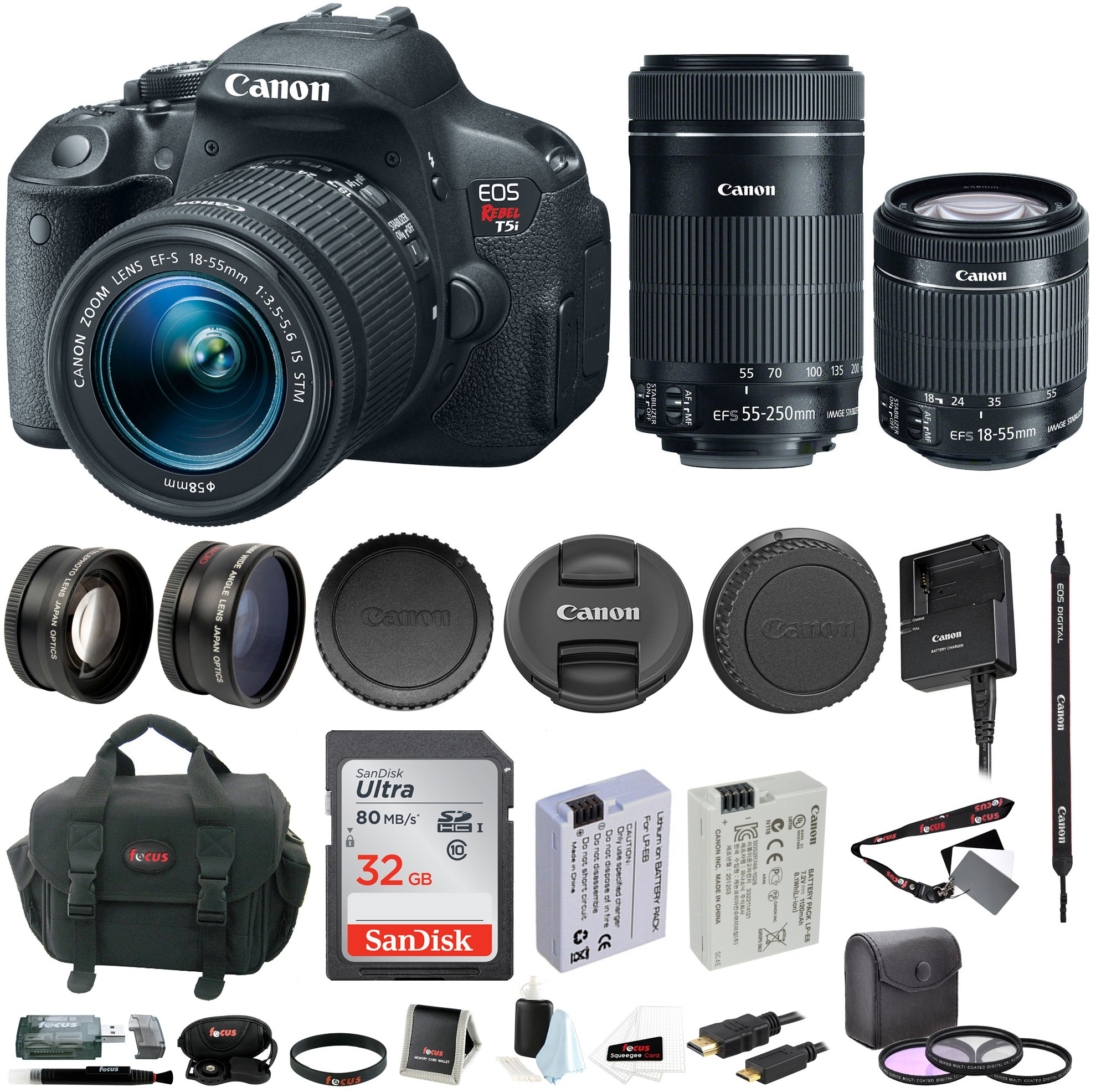 Peculiar Canon Eos Rebel T5i Dslr W 18 55mm 55 250mm Lenses 32gb Accessory Bundle Acaneosdrt5ik7 D4b T5 Vs T5i Specs T5 Versus T5i dpreview T5 Vs T5i