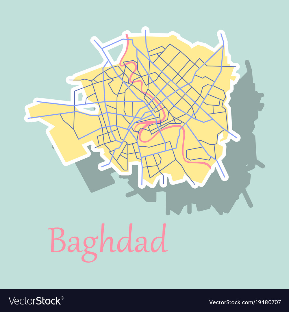 Baghdad city map   iraq sticker isolated on Vector Image