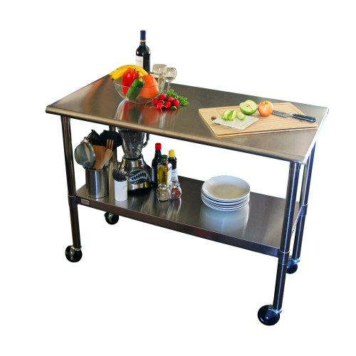 tep kitchen prep tables 2ft 4ft Stainless Steel Top Kitchen Prep Table with Locking Casters Wheels