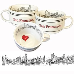Arresting San Francisco Soup Or Cappucino Oversized Mug By Sf Mercantile Oversized Latte Mugs
