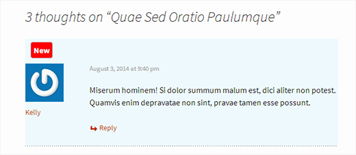 A new comment highlighted in WordPress
