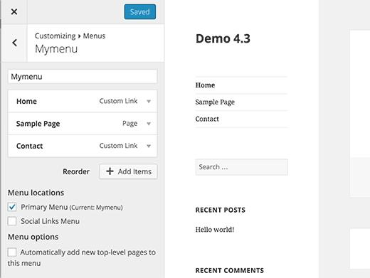 WordPress 4.3 allows you to edit menus in customizer