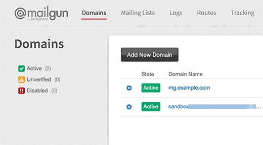 Mailgun active domains