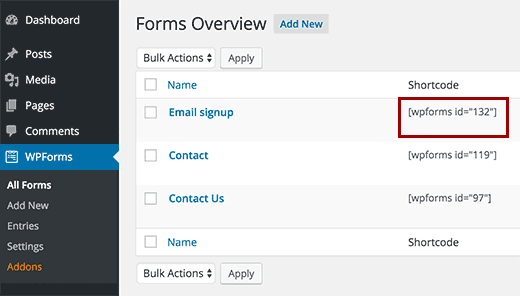 Form shortcode