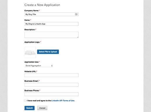 Create new app application form