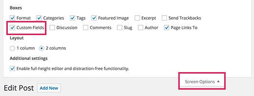 Show custom fields meta box on the post edit screen in WordPress