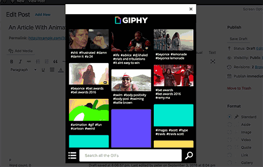 Search or browse Gifs on Giphy