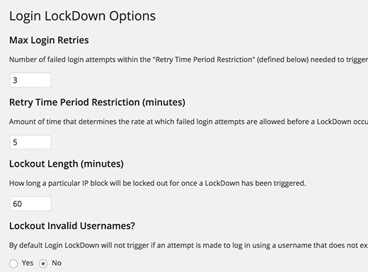 Login LockDown settings