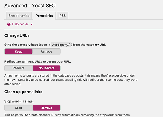 Permalink related settings in WordPress SEO Plugin