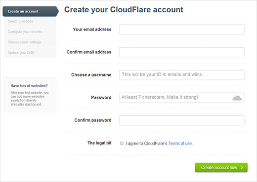 CloudFlare Signup Form