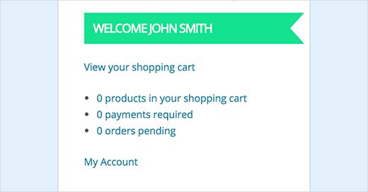 My Account Widget for WooCommerce