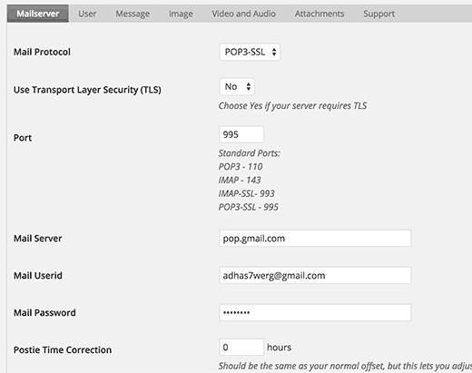 Postie - WordPress post by email plugin settings