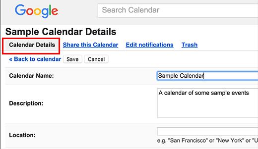 Calendar details tab