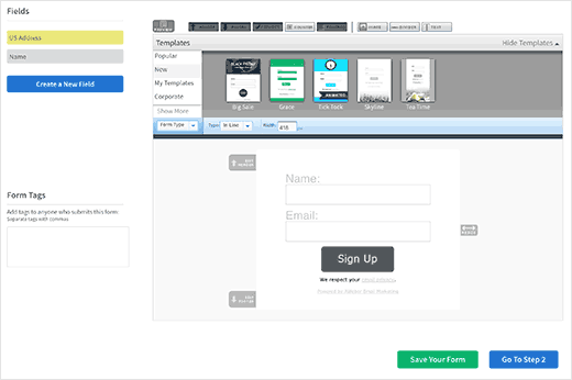 Design your signup form in AWeber