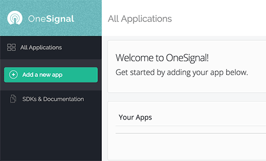 Add new OneSignal app