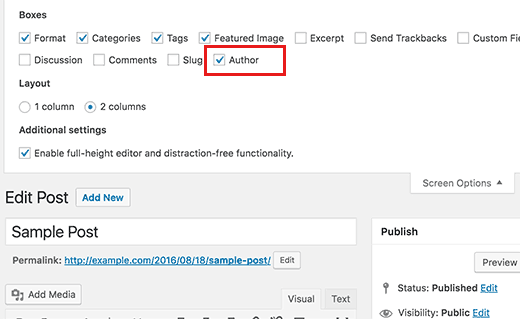 Enable author box on posts screen