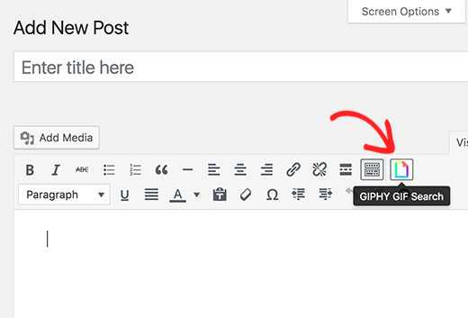 Giphy button in WordPress post editor