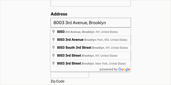 Address autocomplete preview