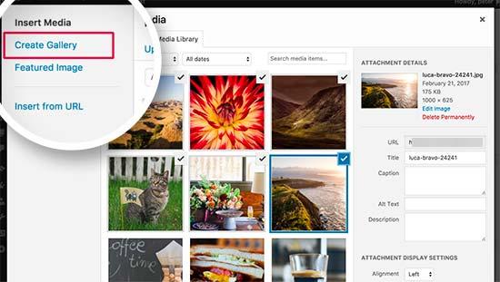 Creating gallery in WordPress