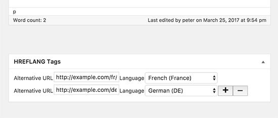 Adding hreflang tags using a plugin