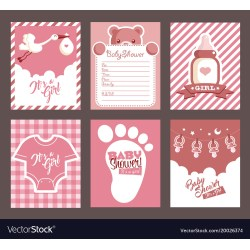 Showy Girl Pink Baby Shower Invitation Greeting Cards Vector 20026374 Girl Baby Shower Invitations Wording Girl Baby Shower Invitations Hearts