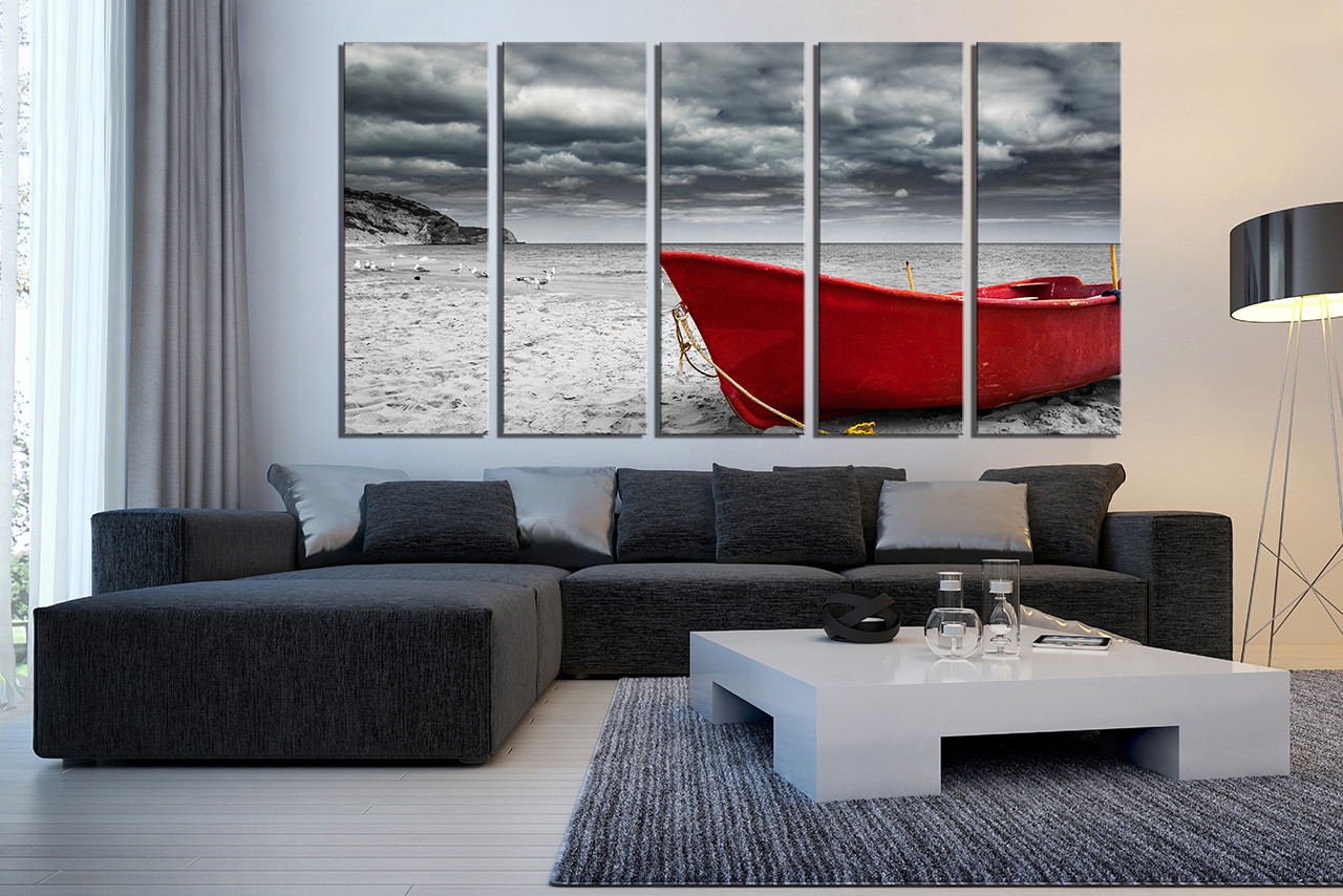 Gray Piece Huge Canvas Grey Ocean Multi Panel Red Boat Wall Art Piece Huge Canvas Black Living Room Uk Large Canvas Art Prints Uk Large Red Boat Large Canvas Art houzz 01 Large Canvas Art