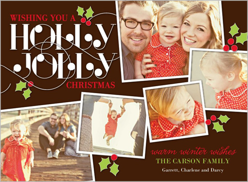 Holly Frames Photo Christmas Card
