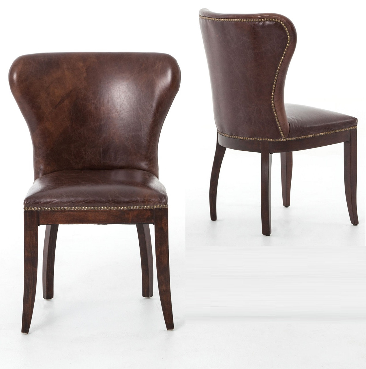 Gorgeous Casters Lear Chairs Wayfair Richmond Vintage Tan Lear Wingback Chair Richmond Vintage Tan Lear Wingback Chair Zin Home Lear Chairs houzz-02 Leather Dining Chairs
