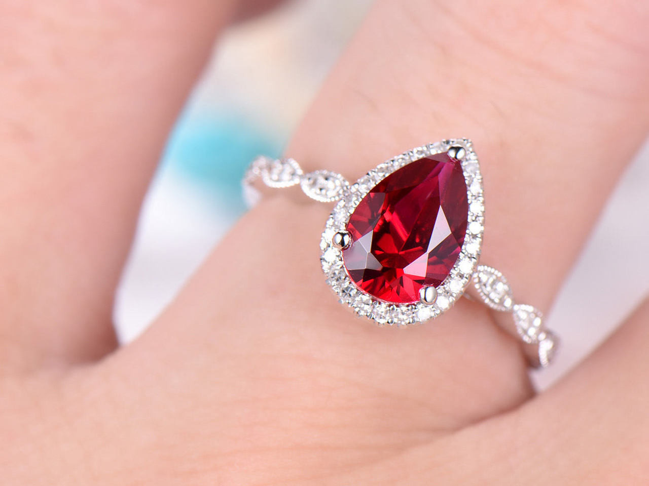 Engrossing Pear Cut Ruby Engagement Pear Cut Ruby Engagement Ring Ruby Engagement Rings Amazon Ruby Engagement Rings On Hand wedding rings Ruby Engagement Rings