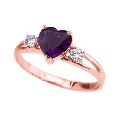 Stupendous Rose G February Birthstone Cz Heart Ring Rose G Promise Ring Set Rose G Promise Ring Uk