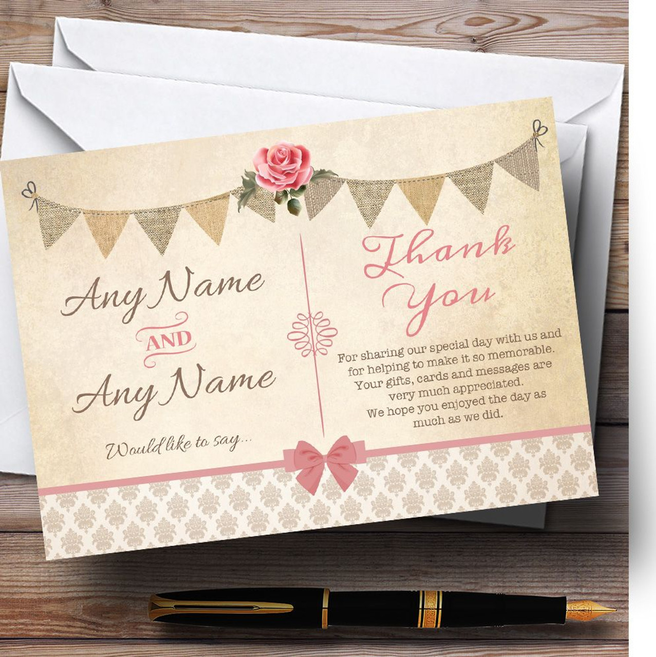 Superb Vintage Rustic Style Bunting Pink Rose Personalized Wedding Thank You Cards Vintage Rustic Style Bunting Pink Rose Personalized Wedding Thank Photo Thank You Cards 1st Birthday Photo Thank You cards Photo Thank You Cards