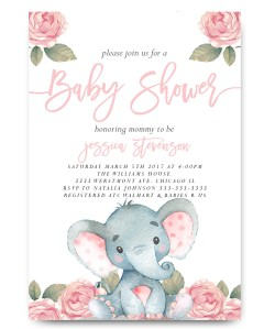 Small Of Elephant Baby Shower Invitations