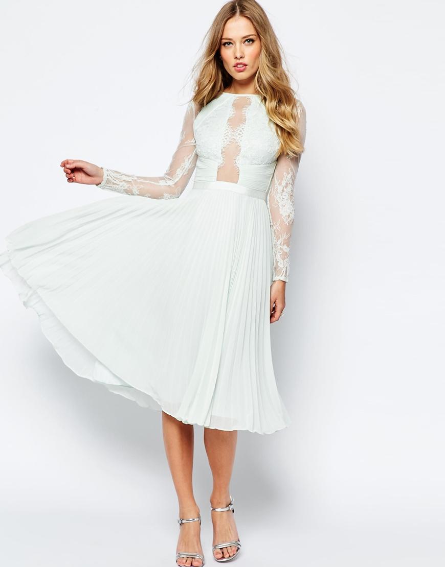 midi dress for wedding midi wedding dress Asos Wedding Pretty Lace Eyelash Pleated Midi Dress In Pink Lyst