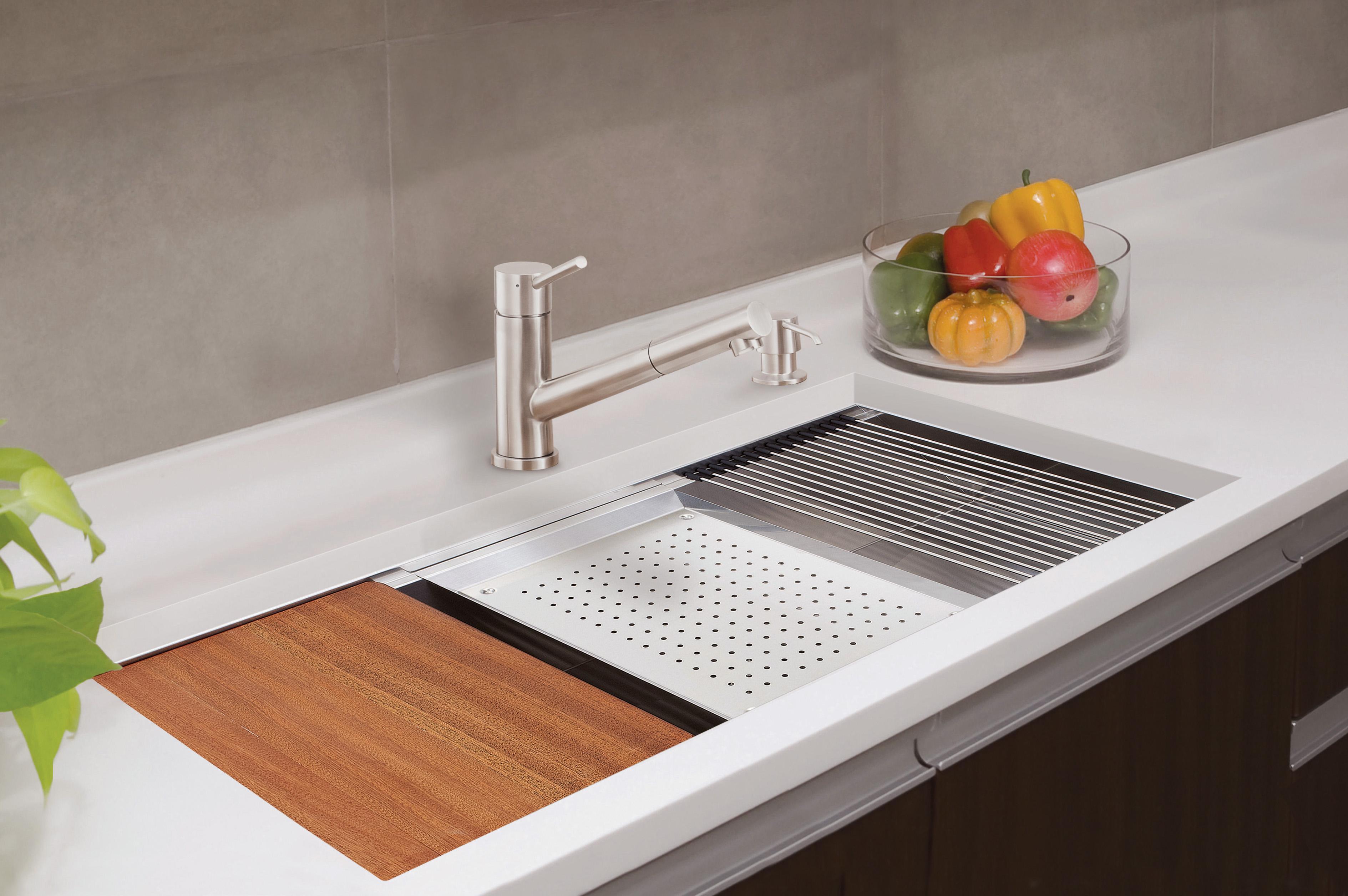 lenova ledge prep sink brings sleek style functionality stainless kitchen sinks Lenova Ledge Prep Sink Brings Sleek Style Functionality Remodeling Sinks Kitchen Products Lenova