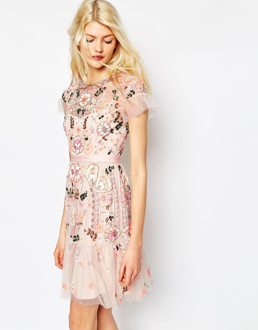 Sophisticated Thread Dresses Nyc Thread Dresses Canada Needle Needle Thread Pastelpink Floral Tiered Embellished Dress Product 3 036377827 Normal Needle wedding dress Needle And Thread Dresses
