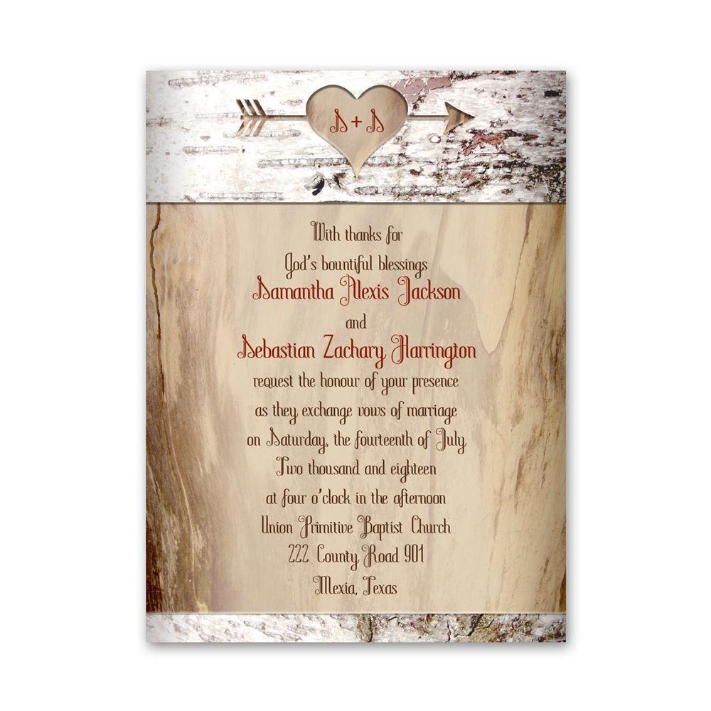 wedding invitations budget wedding invitations Aged Birch Petite Invitation