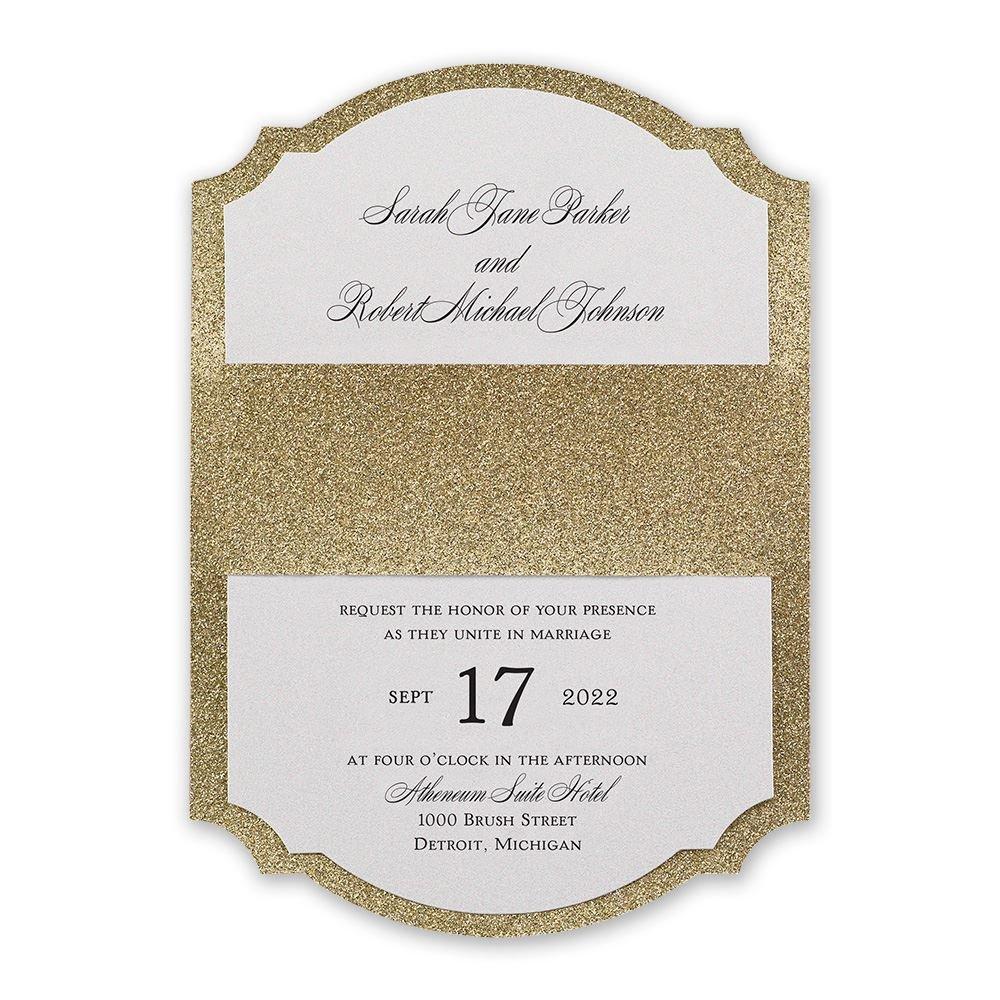 elegant wedding invitations formal wedding invitations Sparkling Beauty Real Glitter Invitation