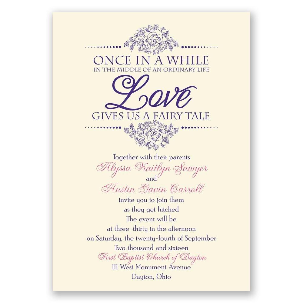 fairy tale wedding invitations cinderella wedding invitations Fairy Tale Love Invitation