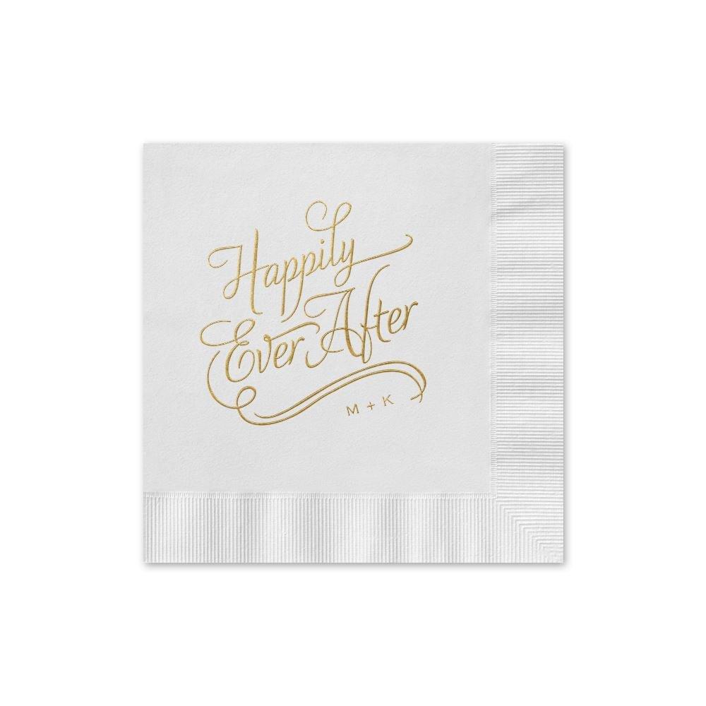 wedding napkins napkins for wedding Wedding Napkins Happily Ever After Foil Cocktail Napkin