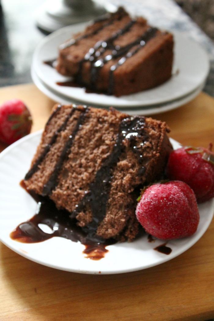 Chocolate Angel Food Cake with Ganache Glaze