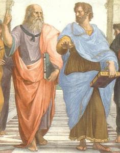 """Plato and Aristotle in The School of Athens"" by Raphael"