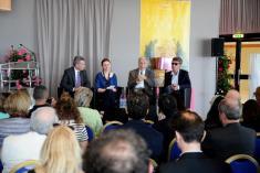 Komisar Günther Oettinger, moderatorka in filmska ustvarjalca Costa Gavras in Pawel Pawlikovski na panelu v okviru EFF