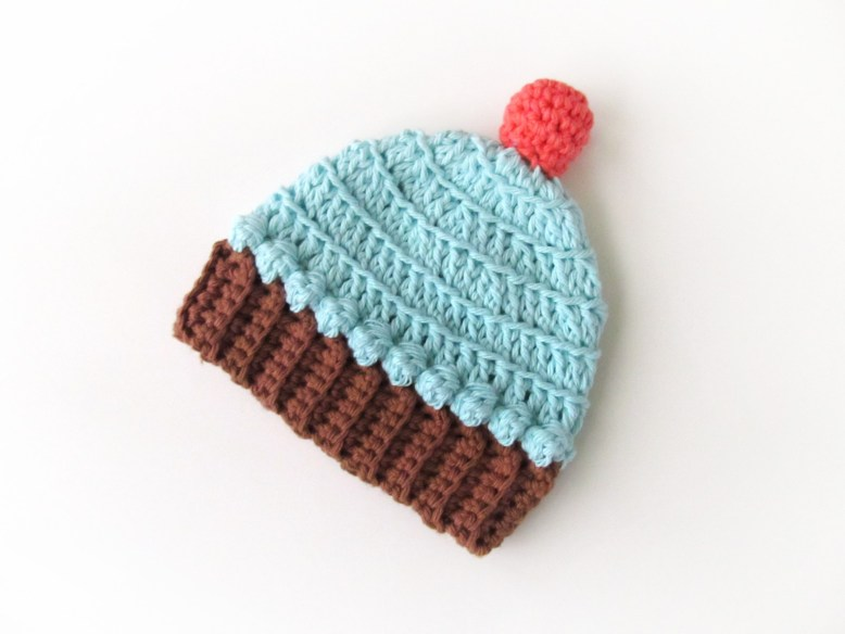 Crocheted Newborn Cupcake Hat