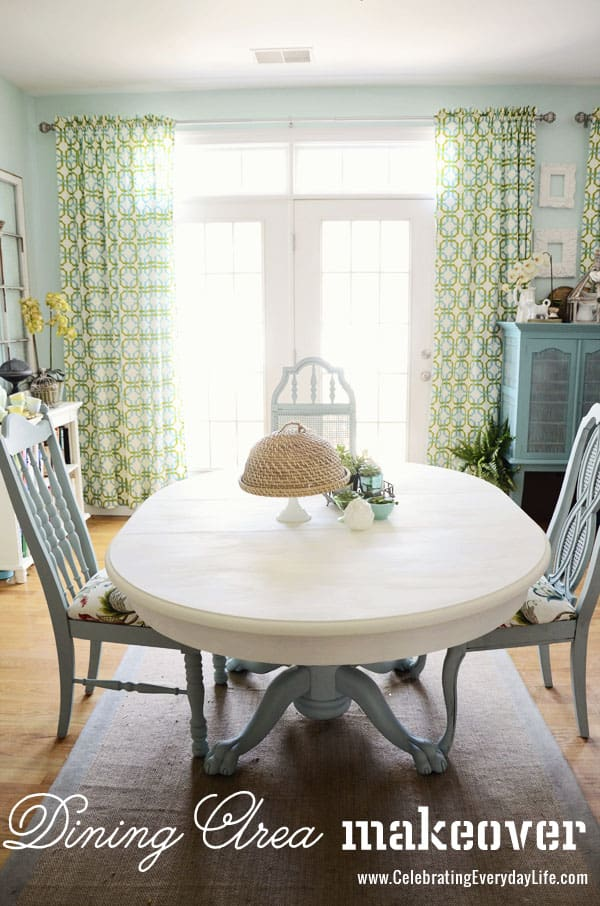 Dining Table and Chairs makeover with Annie Sloan Chalk Paint, Old White Annie Sloan Chalk Paint, Duck Egg Annie Sloan Chalk Paint