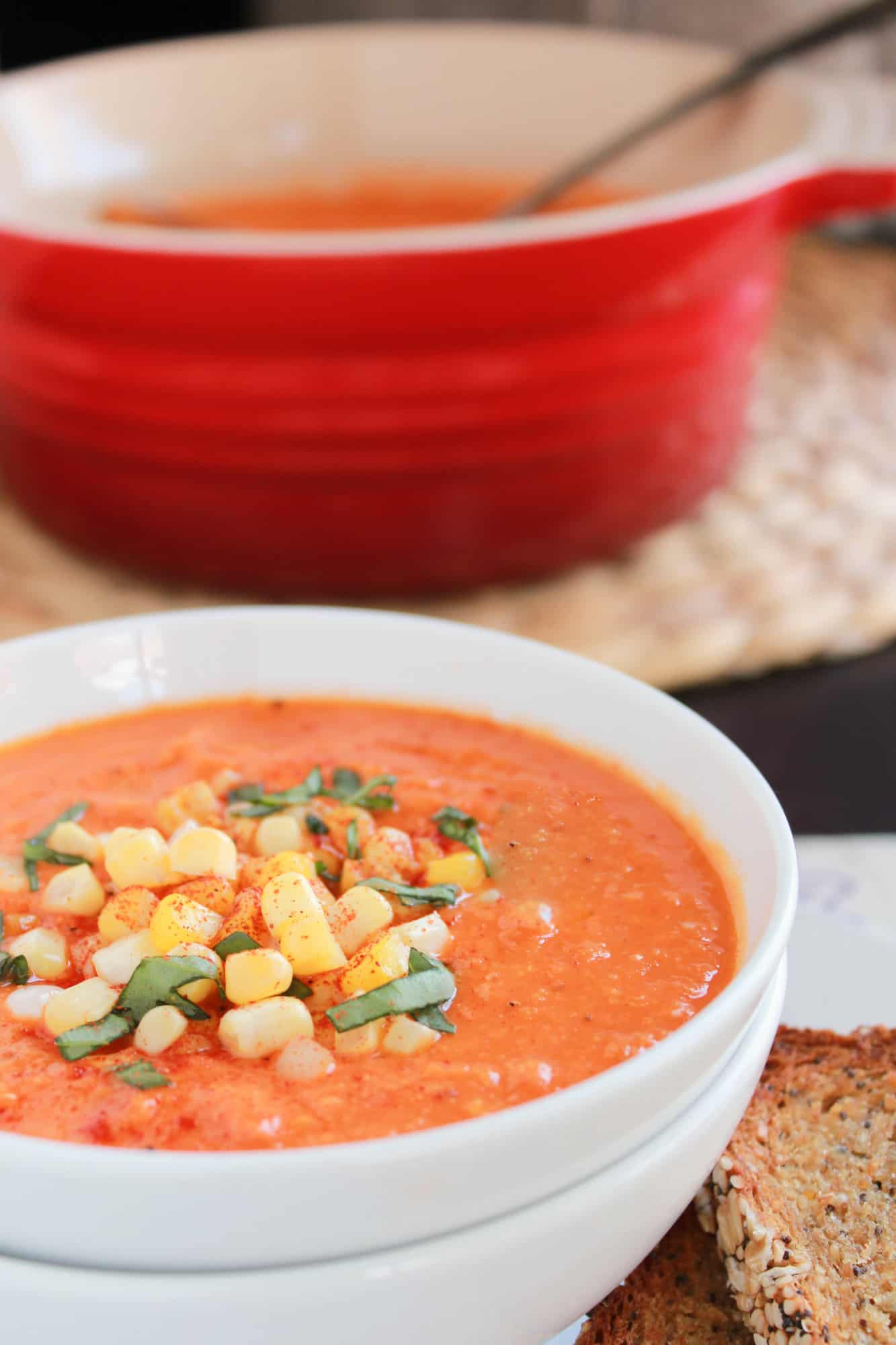 Roasted Tomato and Sweet Corn Soup | Celebrating Sweets