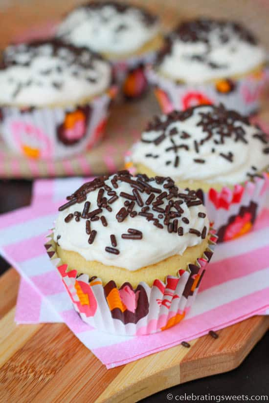 Small Batch Vanilla Cupcakes from Celebrating Sweets